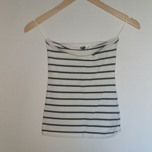 H&M White and Black Striped Tube Top